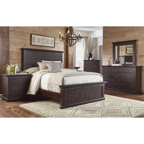 Shop lara 5 piece solid wood king bedroom set free - Real wood bedroom furniture sets ...