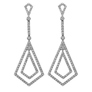 14k White Gold 1 1/7 ct TDW Diamond Dangling Long Earrings - White H-I