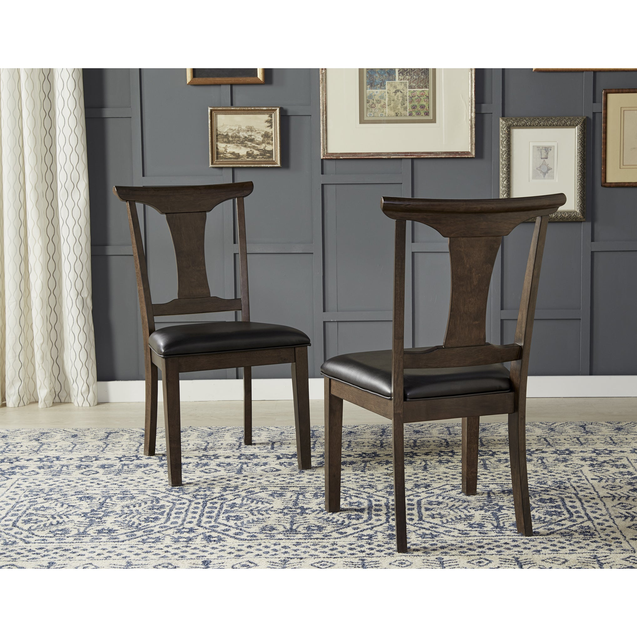 Pleasant Simply Solid Issa Espresso Wood Faux Leather Dining Chairs Set Of 2 Beatyapartments Chair Design Images Beatyapartmentscom