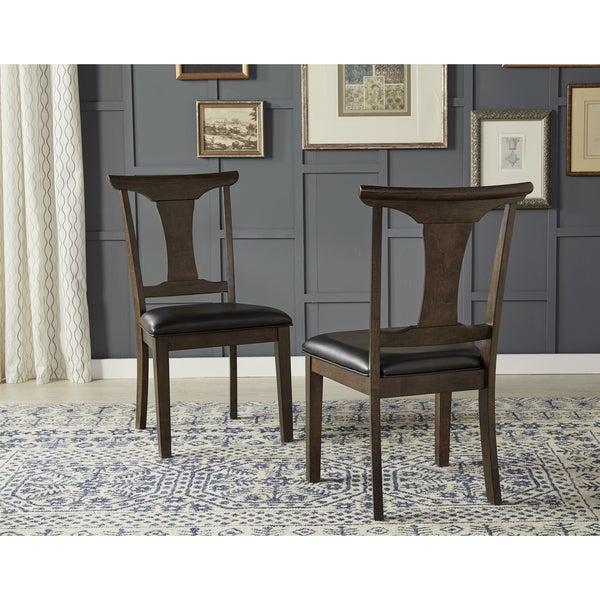 Gentil Simply Solid Issa Espresso Wood/Faux Leather Dining Chairs (Set Of 2)