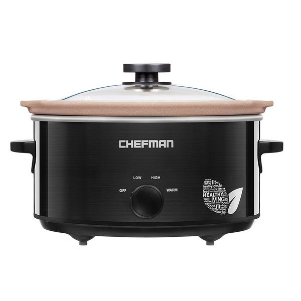 Chefman 5 Qt. Slow Cooker with Natural Stoneware Insert