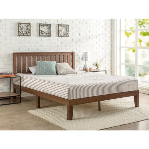 Priage by Zinus Antique Espresso Solid Wood Platform Bed with Headboard
