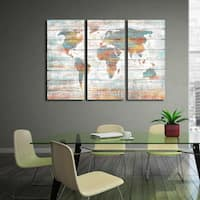 'Colorful World Map' Prints with Hand-painted Texture Gallery-wrapped Canvas Art (Set of 3)