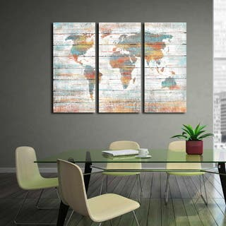 'Colorful World Map' Prints Hand-painted Gallery-wrapped Canvas Art
