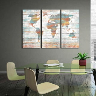 U0027Colorful World Mapu0027 Prints With Hand Painted Texture Gallery Wrapped Canvas  Art