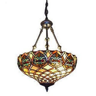 Serena d'italia Tiffany-style Baroque Bronze Metal Glass 2-light Hanging Lamp