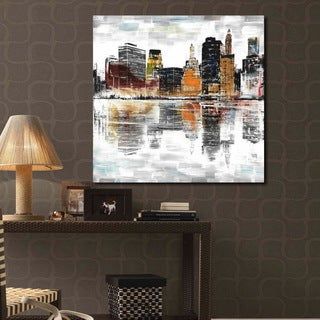 'City with Colors'  Prints with Hand-painted Texture Gallery-wrapped Canvas Art Set