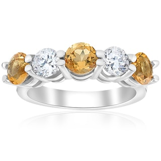 14k White Gold 2 1/2 cttw Citrine & Diamond 5-Stone Womens Wedding Ring 14K White Gold (I-J,I2-I3)