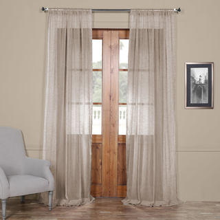 Exclusive Fabrics Open Weave Cinder Grey Linen Sheer Curtain Panel