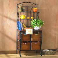 The Curated Nomad Belize Iron and Wicker Bakers Rack