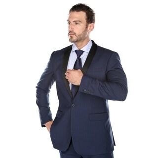 Verno Men's Navy Color Shawl Collar Tuxedo Slim Fit Suit