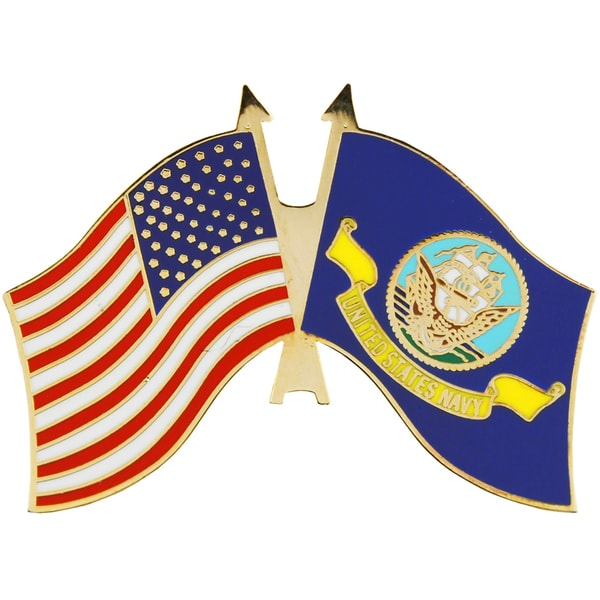 US Navy and USA Flag Military Lapel Pin