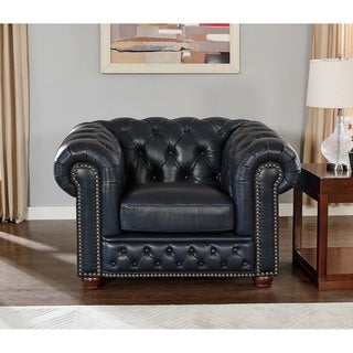 Tuscon Blue Leather Tufted Chair