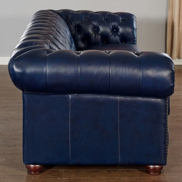 Awe Inspiring Shop Tuscon Blue Leather Tufted Loveseat On Sale Free Andrewgaddart Wooden Chair Designs For Living Room Andrewgaddartcom