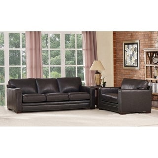Florence Grey Leather Sofa and Chair Set