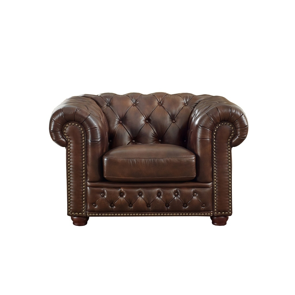Yuma Brown Leather Tufted Chair