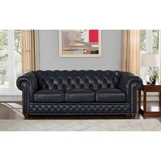 Tuscon Blue Leather Tufted Sofa