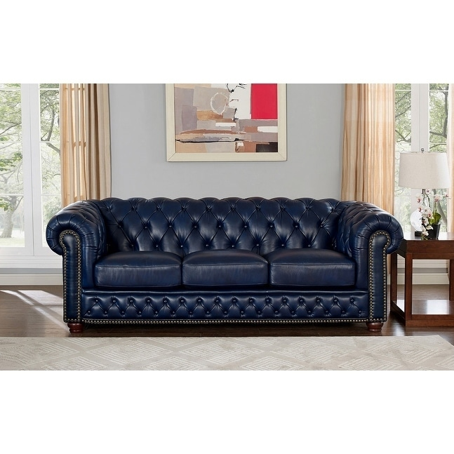 Tuscon Blue Leather Tufted Sofa