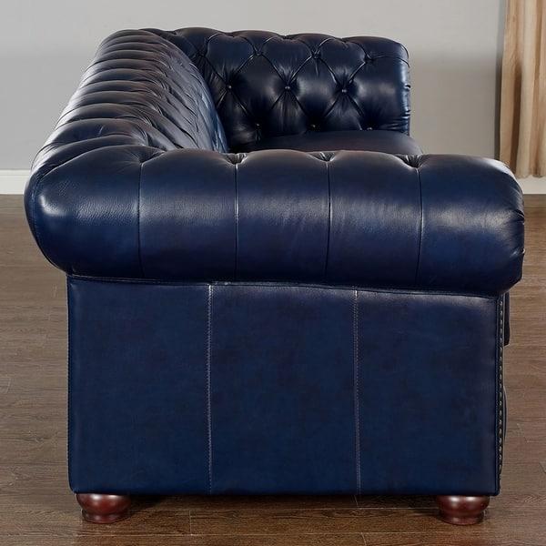 Pleasing Shop Tuscon Blue Leather Tufted Sofa On Sale Free Creativecarmelina Interior Chair Design Creativecarmelinacom