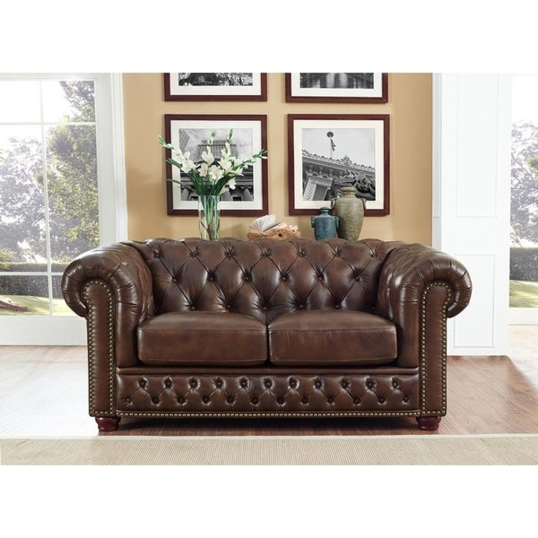 Yuma Brown Leather Tufted Loveseat