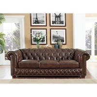 Yuma Brown Leather Tufted Sofa