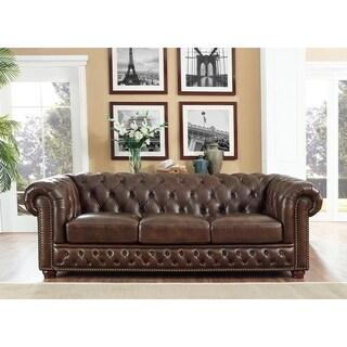Yuma Brown Leather Tufted Sofa