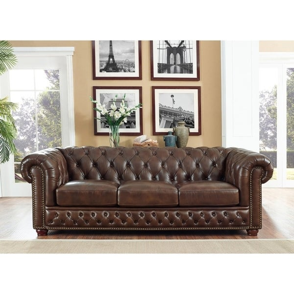 Shop Yuma Brown Leather Tufted Sofa On Sale Free