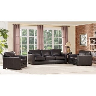 Florence Grey Leather Sofa and Two Chairs Set