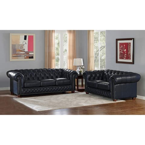 Tuscon Blue Leather Tufted Sofa and Loveseat Set