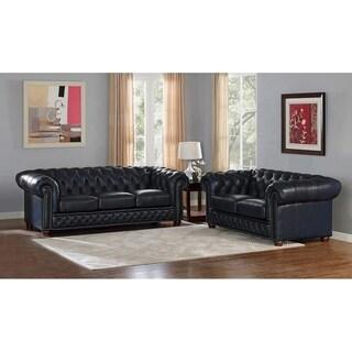 Tuscon Blue Leather Tufted Sofa and Loveseat Set
