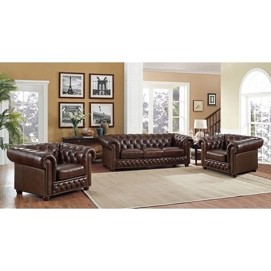 Shop Yuma Brown Leather Tufted Sofa and Two Chairs Set - On Sale ...