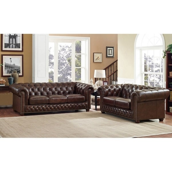 yuma brown leather tufted sofa and loveseat set  on sale
