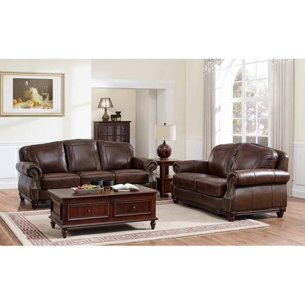 Shop Mesa Brown Leather Sofa And Loveseat Set On Sale