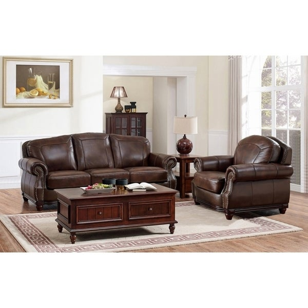 Shop Mesa Brown Leather Sofa And Chair Set Overstock