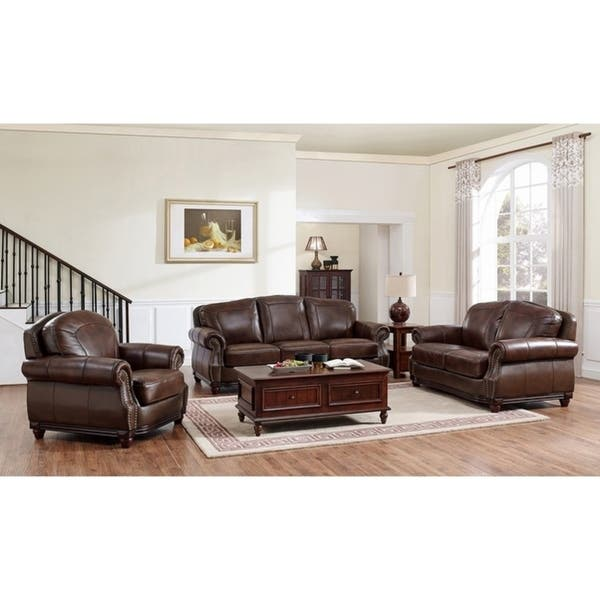 Surprising Shop Mesa Brown Leather Sofa Loveseat And Chair Set On Ibusinesslaw Wood Chair Design Ideas Ibusinesslaworg