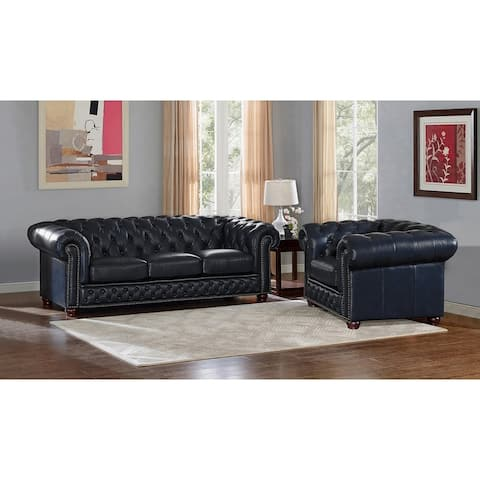 Tuscon Blue Leather Tufted Sofa and Chair Set