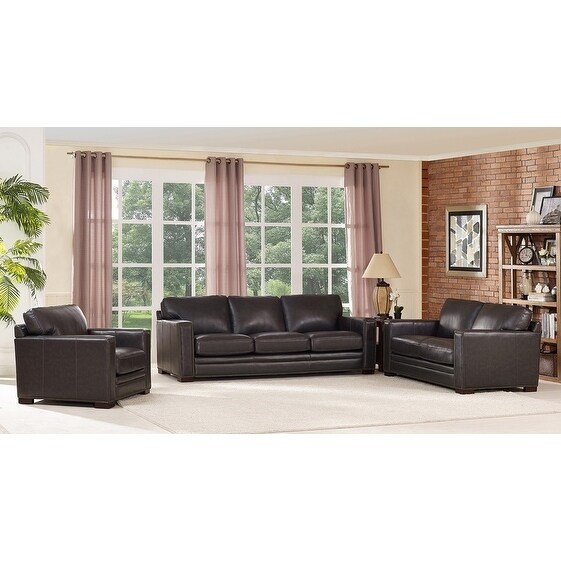 Florence Grey Leather Sofa, Loveseat And Chair Set