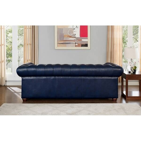 Pleasant Shop Tuscon Blue Leather Tufted Sofa Loveseat And Chair Set Andrewgaddart Wooden Chair Designs For Living Room Andrewgaddartcom