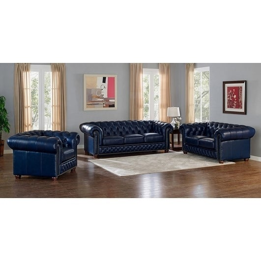 Tuscon Blue Leather Tufted Sofa, Loveseat And Chair Set