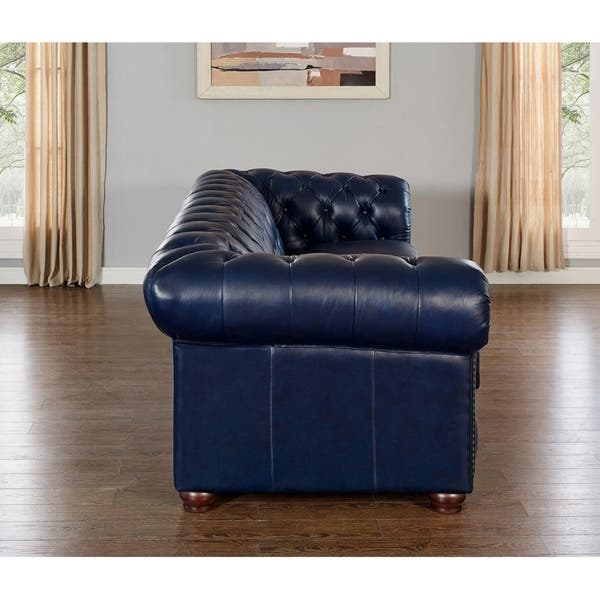 Remarkable Shop Tuscon Blue Leather Tufted Sofa Loveseat And Chair Set Andrewgaddart Wooden Chair Designs For Living Room Andrewgaddartcom