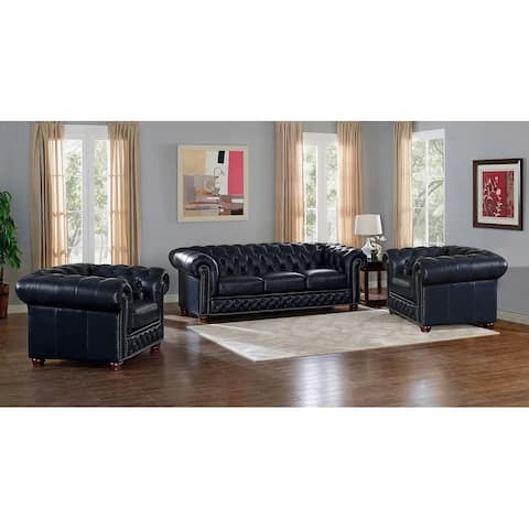 Tuscon Blue Leather Tufted Sofa and Two Chairs Set