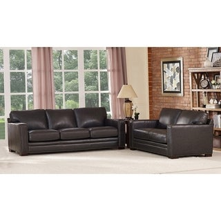 Florence Grey Leather Sofa and Loveseat Set