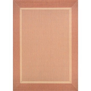 Couristan Recife Stria Texture/Natural-Terra Cotta Polypropylene Area Rug (3'9 x 5'5) (As Is Item)