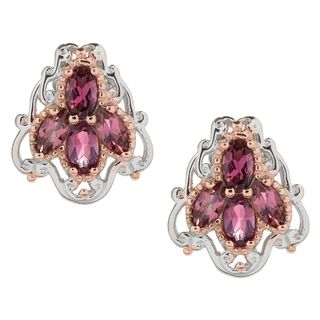 Michael Valitutti Palladium Silver Pink Tourmaline Four-Stone Stud Earrings