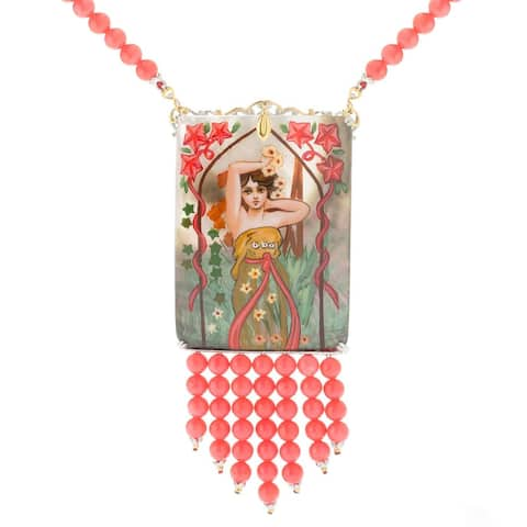 Michael Valitutti Palladium Silver Hand-Painted Mother-of-Pearl & Coral Bead Fringe Necklace