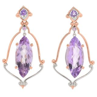 Michael Valitutti Palladium Silver Pink Amethyst & Pink Sapphire Dangle Earrings