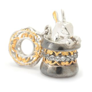 Michael Valitutti Palladium Silver White Topaz Magician's Hat & Rabbit Drop Charm