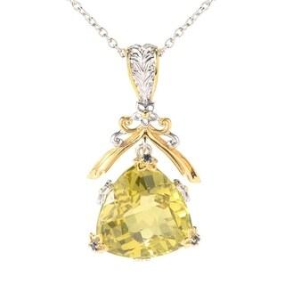 Michael Valitutti Palladium Silver Trillion Ouro Verde & Blue Sapphire Pendant