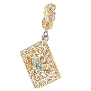 Michael Valitutti Palladium Silver Swiss Blue Topaz & Ruby Tarot Cards Drop Charm