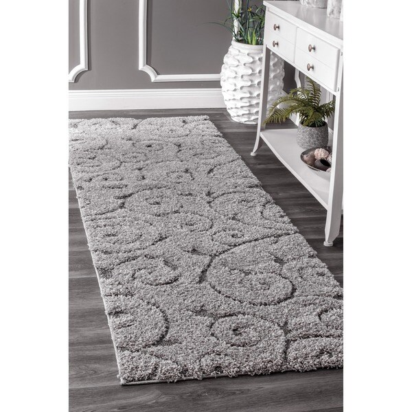 nuLOOM Soft and Plush Vine Swirls Shag Dark Grey Shag Runner Rug (2'8 x 8')